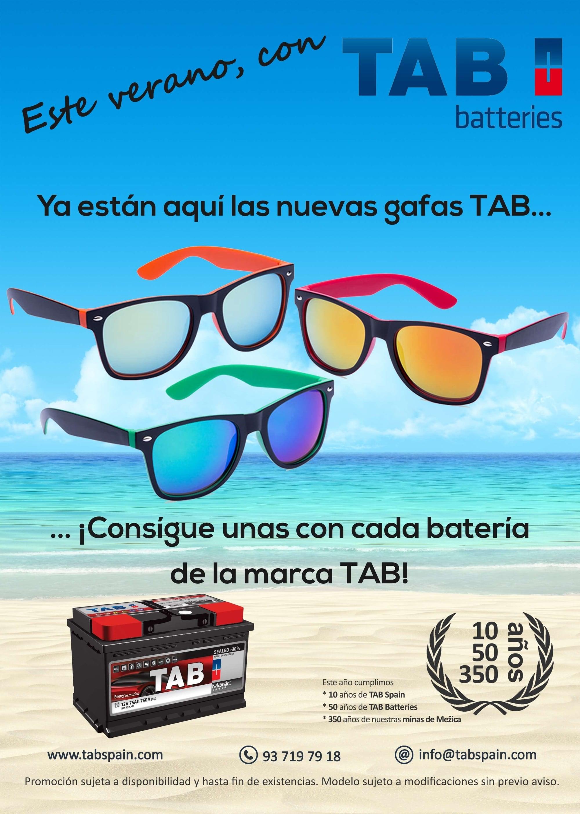 TAB Spain obsequia a sus clientes con unas gafas de sol por la compra de una batería de la marca TAB
